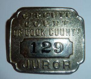 Law Memorabilia Metal JUROR BADGE Cook County CHICAGO Illinois Circuit Court 50s
