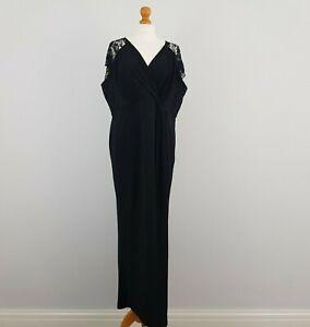 M&S Marks & Spencer Womens Black Long Wrap Lace Short Sleeve Formal Dress UK 22