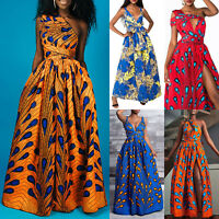 Women African Print Maxi Long Dress Evening Party Cocktail Wedding Gown Dress