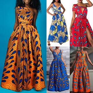 Womens African Dashiki Convertible Multi-Way Evening Party Split Long Maxi Dress