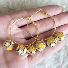 Womens 3.5 cm Gold-Tone Ring Yellow-White-Gold Bell Ball Huggie Hoop Earrings