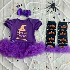 HOCUS POCUS HALLOWEEN WITCH OUTFIT Baby Girl Fancy Dress Party Dress Leg Warmers