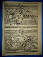 Vintage 1875 TROWBRIDGE - ECCLES YORK & SWAN CREEK Tp. FULTON Co. OHIO ENGRAVING