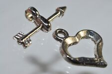 One Set Silver Rhodium Plated Over Copper Fancy Heart Toggle Clasp A0799