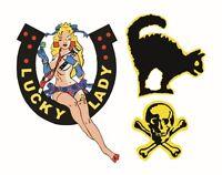 Rockabilly Lucky Lady Guitar Set Waterslide Decals