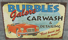 "VINTAGE LOOK TIN METAL ""BUBBLES GALORE CAR WASH"" 10""X16"" OLD STYLE TIN SIGN"