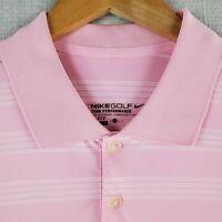 NIKE GOLF Size Large Polo Shirt Tour Performance Pink/White Stripe DRI-FIT Mens