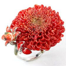 925 Sterlingsilber Ring, Natural Rot Cremon Blumen & Vogel Keramik Emaille Neu