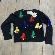 Michael Simon womens black open cardigan button front Christmas adult small NWT