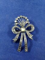 Vintage Costume Jewelry Silver Ribbon Bow Shaped Pin with Rhinestones