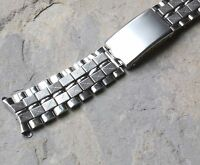 Steel beads and brick link 18mm curved end vintage watch band NOS from 1960s/70s