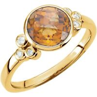 Genuine Citrine 8 mm Round Cut Gemstone & .07 ctw Diamonds Ring 14K Yellow Gold