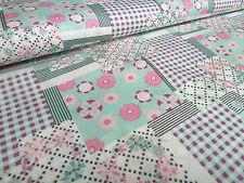 Stoff Baumwolle Popeline Patchwork Blumen Karo mint rosa pink weiß Kleiderstoff