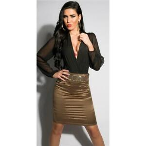 Satin Pencil Skirt with Pinstripes Incl. Belt Cappuccino #RO266