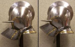 Medieval Burgonet Helmet W/ Inner Liner Brass Accents Bidding Halloween A22