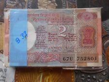 100 Notes Serial Packet ( Bundle ) B33 - R.N. MALHOTRA - Satellite 2 Rupees