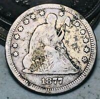 1877 Seated Liberty Quarter 25C High Grade Detail Good 90% Silver US Coin CC6944