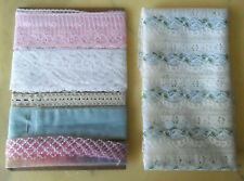 Lot: 3 Vintage White, Pink, Natural Lace + 3 Organza Ribbons Trims + Lace Fabric