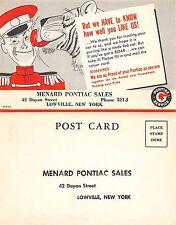 B75/ Lowville New York NY Postcard c30s Menard Pontiac Sales Advertisement Auto