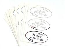 Happy Christmas Adhesivos Plata Brillante en Blanco Etiquetas para Tarjetas
