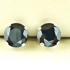 Fashion Black Diamond Solid Silver Plated  Earrings 3mm Round Created Stone Gift