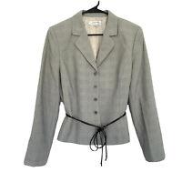 Tahari Blazer Suit Jacket Womens Size 12 Black White Plaid Button Down Tie Waist