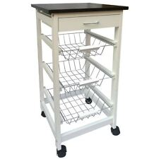 Modern 3 Tier 1 Drawer Kitchen Trolley White Wood Cart Basket Storage