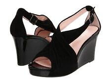 NEW Taryn Rose Shelly Black Suede Patent Leather Wedge Heel Sandal Women 9 M NIB