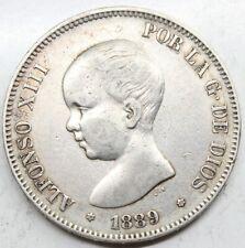 ESPAÑA ALFONSO XIII 1889 *18-89 Perfecta MPM 5 PESETAS MONEDA PLATA MBC+