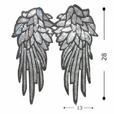 Paar von groß Engel Flügel Pailletten Applikationen - 28cms lang - zum Aufnähen