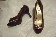 womens bandolino sheer bliss copper leather open toe heels shoes size 10