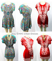 3566Women summer beach party hawaiian Boho evening Club dress sundress Tunic Top