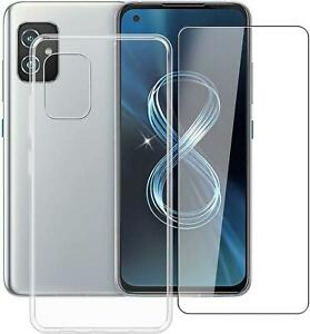 For Asus Zenfone 8 ZS590KS Case, Clear Silicone Gel Phone Cover + Screen Guard