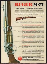 1981 RUGER M-77 Rifle AD w/cutaway view~Collectible Hunting Advertising
