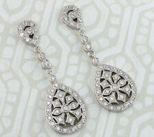Fine Art Deco Style Solid Silver Pear Shaped CZ Large Drop Earrings