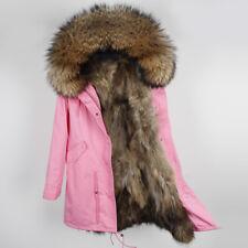 01abec231f188 Women Large Real Raccoon Fur Collar & Lined Coat Winter Parka Jackets  fluffy fur
