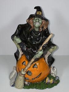 Vintage Byron Ceramic Mold Witch and Black Cat On Pumpkin Jack-o-lantern 1972