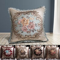 Embroidery Floral Pillow Case Throw Sofa Cushion Cover Tassel Sofa Home Decor