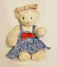 Rare WHITE Jointed VERMONT TEDDY BEAR in Blue & White Dress with bow