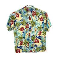 Joe Kealoha Reyn Spooner Hawaiian Shirt Mens XL Blue Surfboard Floral Rayon
