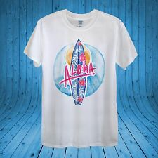 Aloha Surf Board Sea Sun Summer Tropical T­-shirt 100% cotton unisex women