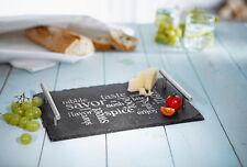 Servierplatte aus Schiefer, 30x20 cm - Serviertablett, Wurst, Käse, Sushi - NEU