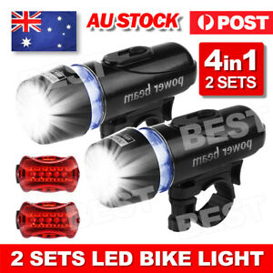 Light Head Tail Lights 5 LED Lamp White Beam Safety Alarm Set Bicycle Cycle Bike