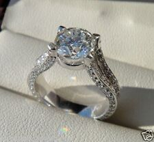 1.78ct Brilliant Round Solitaire Diamond Engagement Ring White Gold over