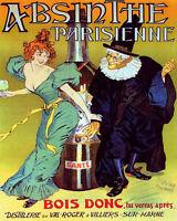 POSTER ABSINTHE PARISIENNE BIG BOTTLE WOMAN WIZARD DRINK VINTAGE REPRO FREE S/H