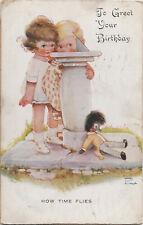 S21 1467 Attwell Birthday Postcard 2 Girls Sundial Black Doll c 1930