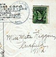 1908 FRUITLAND MARYLAND POSTMARK to Crisfield Riggin WICOMICO Postcard Cover HN
