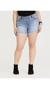 Nwt Torrid Size 12 Denim Shorts High Rise Buttonfly