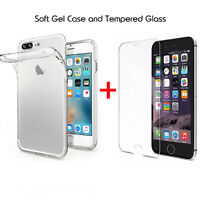 For Apple iPhone 8 8plus Clear Soft Gel Case and Tempered Glass Screen Protector