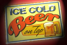 NEW RETRO METAL SIGN - ICE COLD BEER ON TAP - Man Cave Shed - Free Post